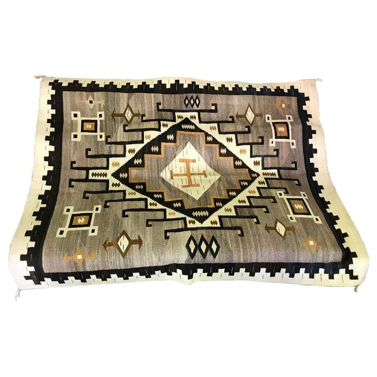 Native American Navajo Crystal Region Large Handwoven Rug, circa 1910-1920 For Sale