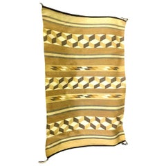 Native American Navajo Geometric Optical Handwoven Rug Blanket
