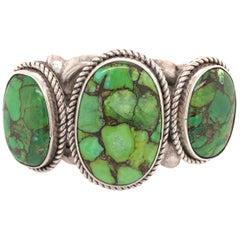 Native American Navajo Green Turquoise 925 Silver Cuff Bracelet Estate Jewelry
