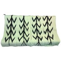 Native American Navajo Handwoven Beige and Black Rug Blanket