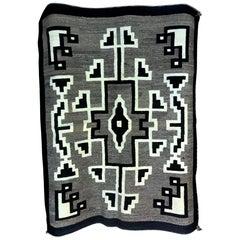 Native American Navajo Handwoven Green, Beige and Brown Rug Blanket