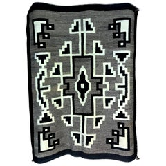 Native American Navajo Handwoven Green, Beige and Brown Rug Blanket