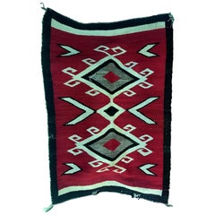 Native American Navajo Handwoven Red, Brown and Beige Rug Mat