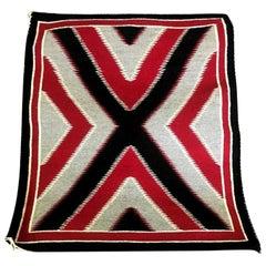 Native American Navajo Handwoven Red, Grey, Black X-Pattern Rug Blanket