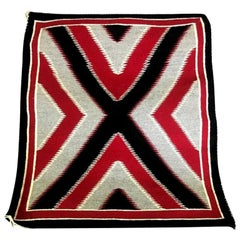 Native American Navajo Handwoven Red, Grey, Black X-Pattern Rug Blanket