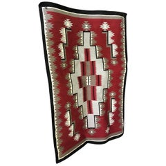 Native American Navajo Large Handwoven Red and Grey Rug Blanket