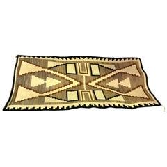 Native American Navajo Large Handwoven Storm Pattern Rug Blanket