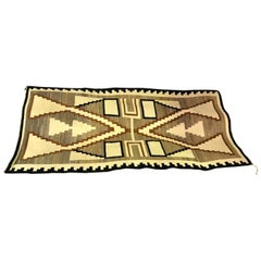 Native American Navajo Large Handwoven Storm Pattern Rug Blanket