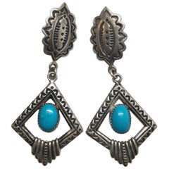 Native American Navajo Randall Tom Sterling Silver Turquoise Dangle Earrings