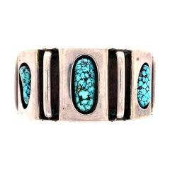 Native American Navajo Spider Web Turquoise Silver 925 Cuff Bracelet