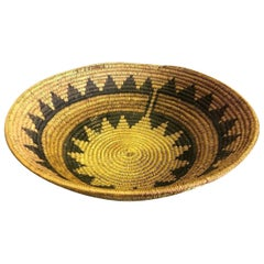 Native American Navajo Tribe Unique Handwoven Large Coil Wedding Basket