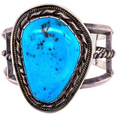 Native American Navajo Turquoise 925 Silver Cuff Bracelet Estate Fine Jewelry