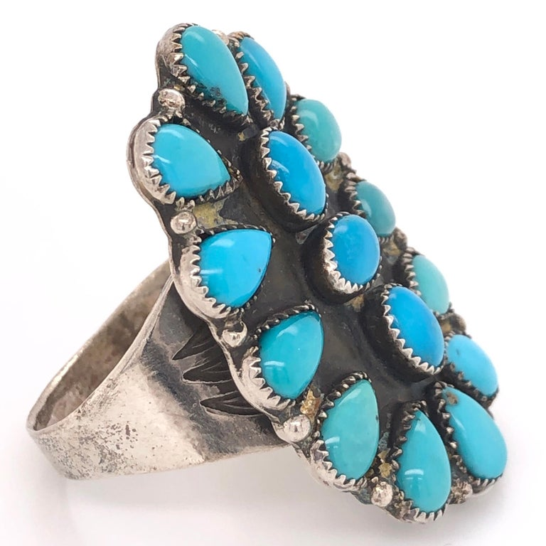 Stunning and highly desirable Native American Zuni Navajo 925 Sterling Silver large Men's Petti Point Ring featuring multi Turquoise nuggets in beautifully crafted frame. Size 15, measuring approx.  1.75