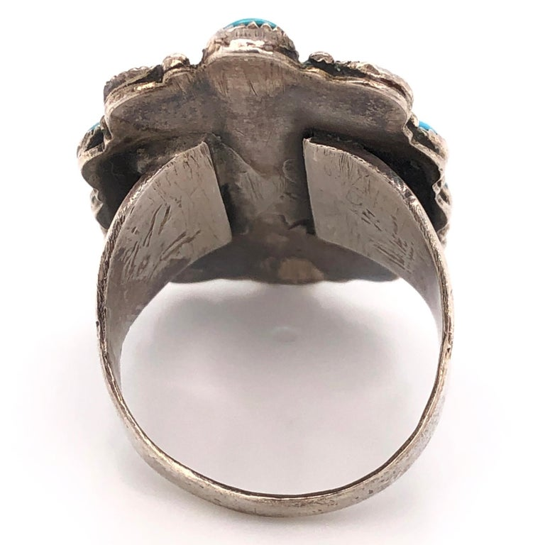 Native American Navajo Turquoise 925 Sterling Silver Ring Estate Fine Jewelry In Excellent Condition For Sale In Montreal, QC