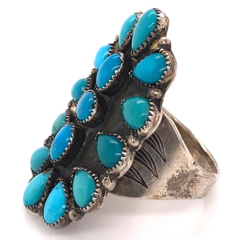 Men's Native American Navajo Turquoise 925 Sterling Silver Ring Estate Fine Jewelry For Sale
