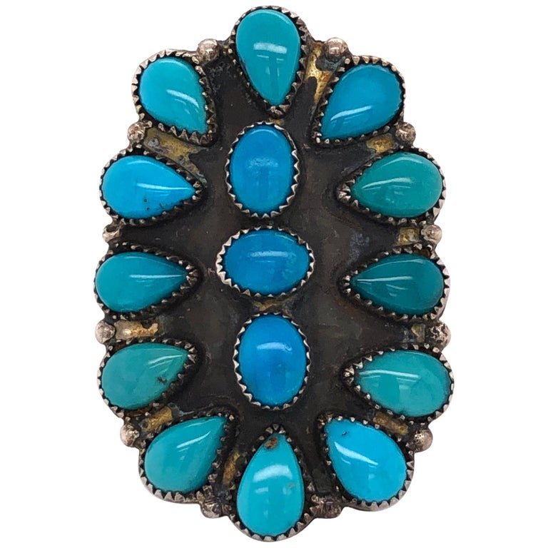 Native American Navajo Turquoise 925 Sterling Silver Ring Estate Fine Jewelry For Sale