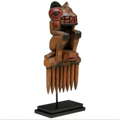 Early 20th Century Native American Northwest Coast Bear Comb, Probably Tlingit