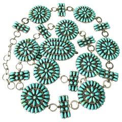 Native American Paul Jones Sterling Silver Genuine Turquoise Navajo Belt