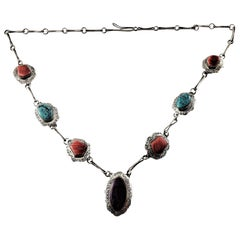 Native American PN Sterling Silver Multi-Stone Link Necklace