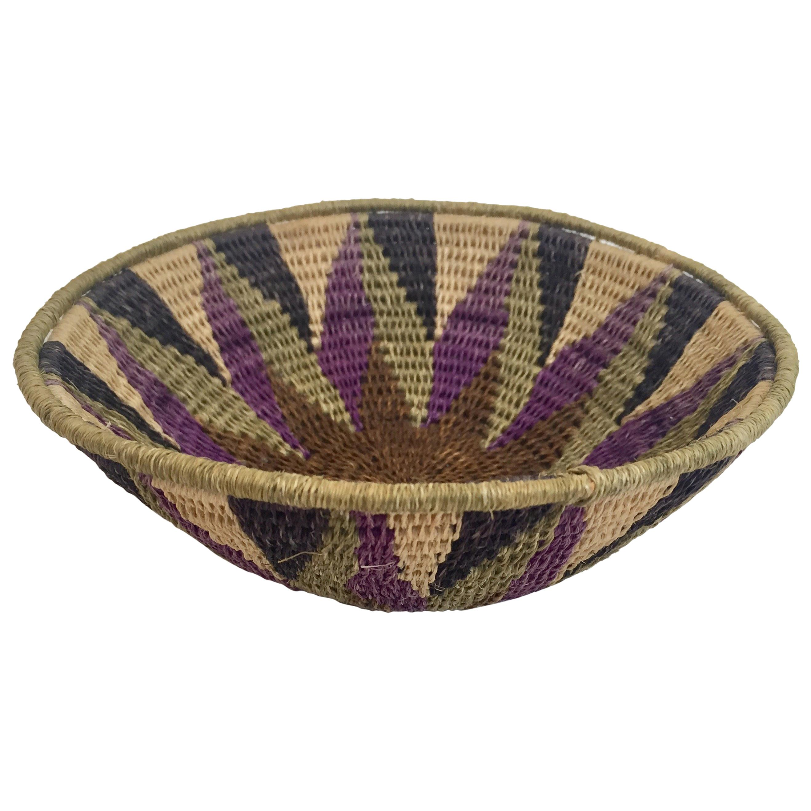 African Polychrome Seagrass and Silk Woven Basket