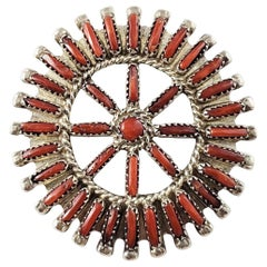 Native American R. Paquin Silver Coral Needlepoint Pendant Brooch or Pin