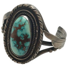 Native American Sandoval Sterling Silver Turquoise Cuff Bracelet