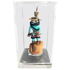 Native American Signed Hopi Kachina Doll in Display Case