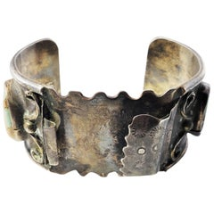 Native American Silver and Turquoise Watch Cuff