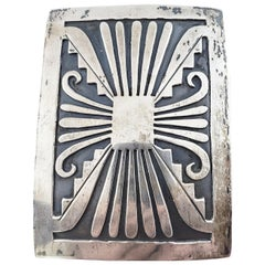 Native American Silver Overlay Large Belt Buckle