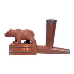 Native American Sioux Tribe Bear Effigy T Pipe