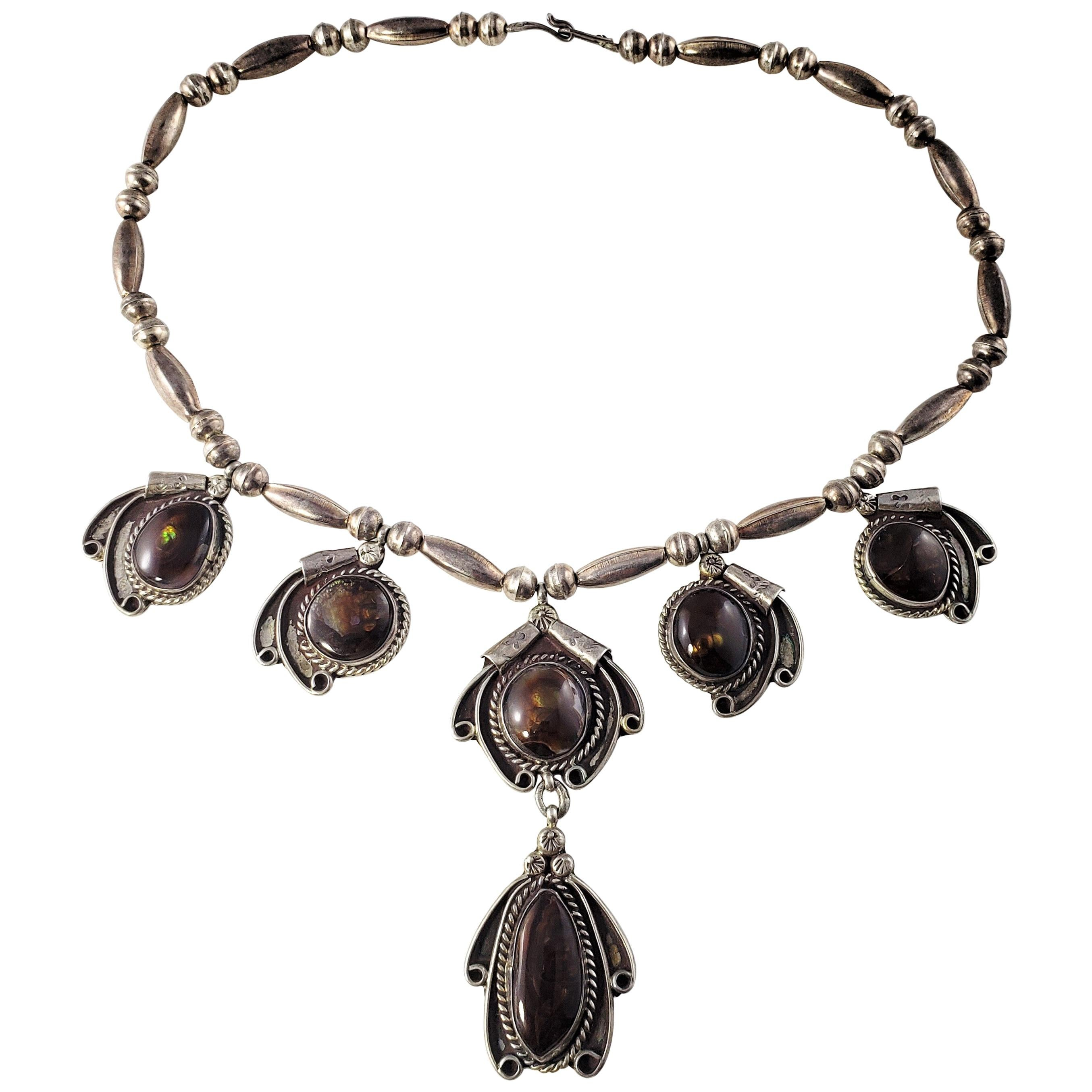 Native American Squash Blossom Style Sterling Silver Pietersite Necklace