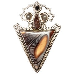 Native American Sterling Silver Banded Agate and Druzy Arrowhead Pin / Pendant