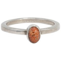 Native American Sterling Silver Coral Cabochon Ring, Mid 1900s
