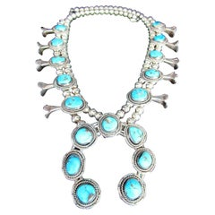 Native American Sterling Silver Genuine Turquoise Navajo Squash Blossom Necklace