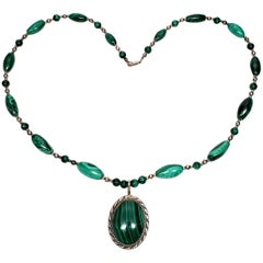 Native American Sterling Silver Malachite Beaded Pendant Necklace