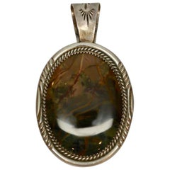Native American Sterling Silver Multicolored Stone Pendant Signed BB