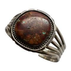 Native American Sterling Silver Natural Ocean Jasper Cuff Bracelet, Signed