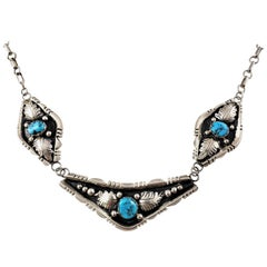 Native American Sterling Silver Oxidized Turquoise 3-Panel Link Necklace