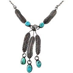 Native American Sterling Silver Turquoise Feather Dangle Necklace