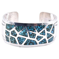 Native American Sterling Silver Turquoise Inlay Cuff Bracelet