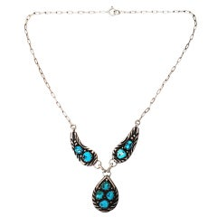 Native American Sterling Silver Turquoise Tear Drop Pendant Necklace