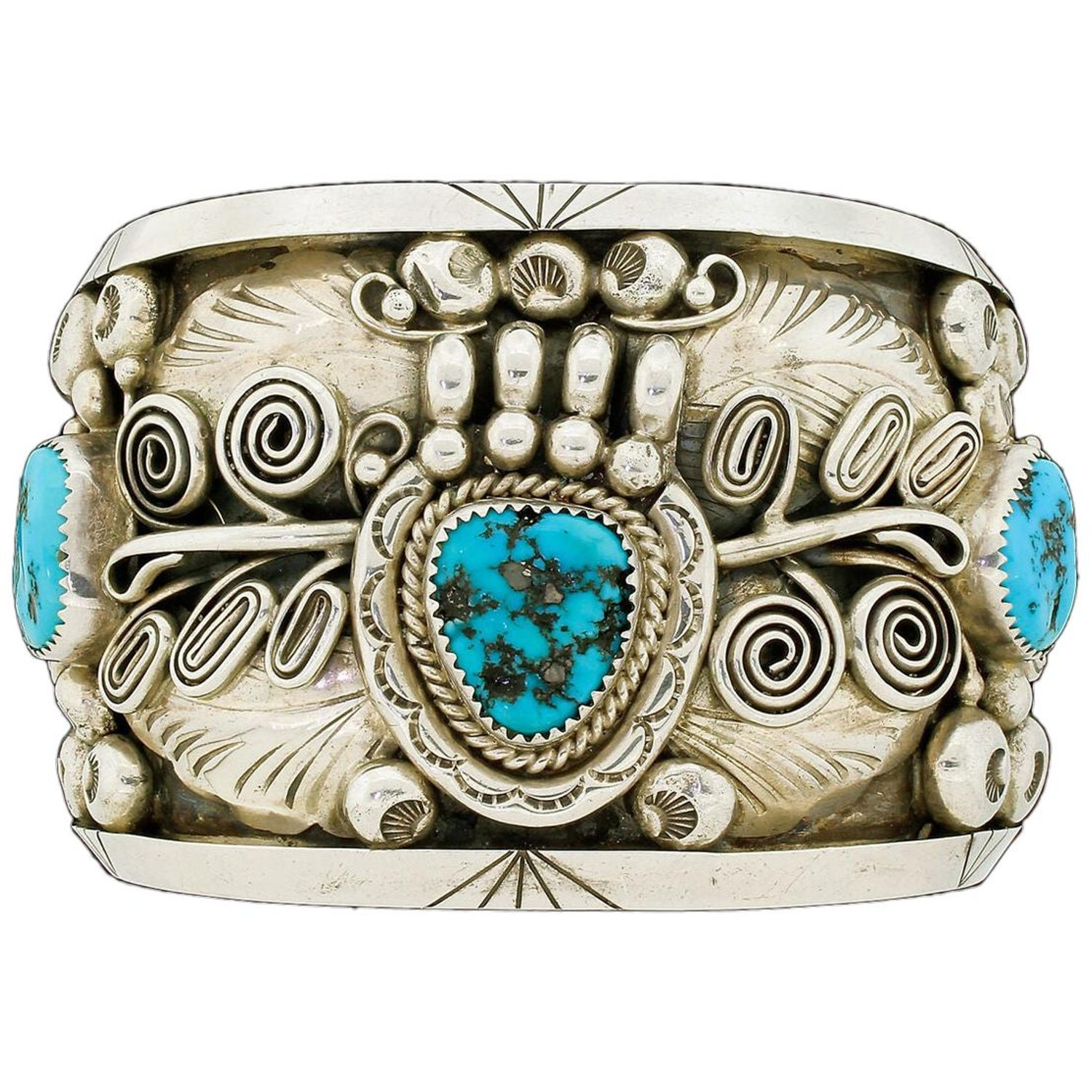 810f5c2e467 Native American Sterling Silver Wide Turquoise Cuff Bracelet Ornate 150G  For Sale at 1stdibs