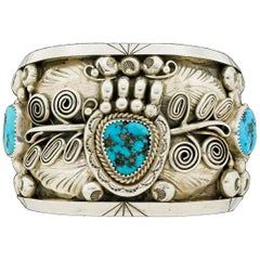 Native American Sterling Silver Wide Turquoise Cuff Bracelet Ornate 150G