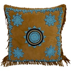 Native American Style Suede Pillow with Turquoise Glass Beadwork