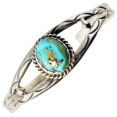 Native American Tony Guerro Sterling Silver Turquoise Bracelet