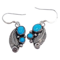 Native American Turquoise Feather Earrings, Sterling Silver, Hook, 20th Century
