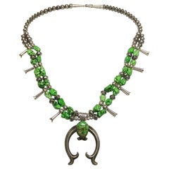 Native American Turquoise Navajo Squash Blossom 925 Silver Necklace Estate Find