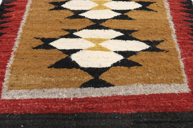 Native American Vintage Indian Navajo Kilim Runner with Adirondack Lodge Style In Good Condition For Sale In Dallas, TX