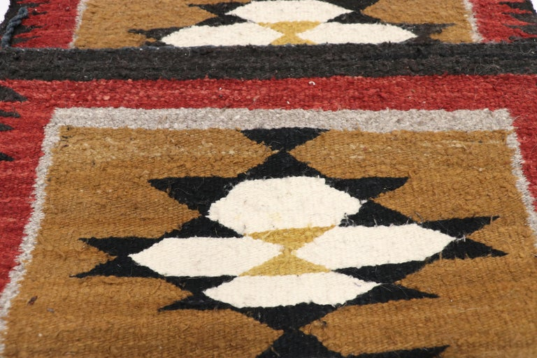 20th Century Native American Vintage Indian Navajo Kilim Runner with Adirondack Lodge Style For Sale