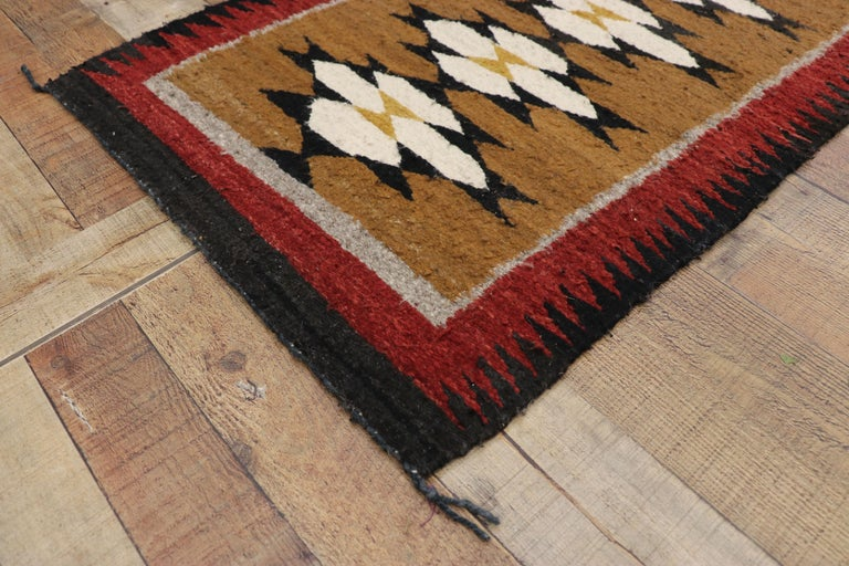 Wool Native American Vintage Indian Navajo Kilim Runner with Adirondack Lodge Style For Sale